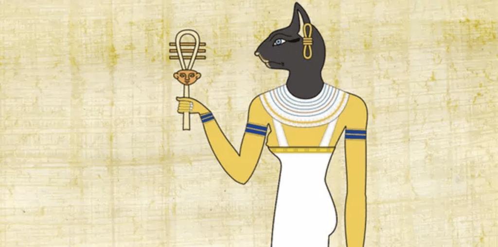 Gravura egípcia antiga, mostrando um corpo humano com cabeça de um gato preto, segurando um item religioso conhecido como Cruz de Ansata. A imagem passa a sensação de calor.
